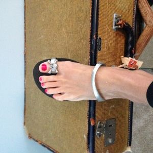 Shoes - silver pirate flip flops